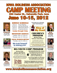 Iowa Holiness Association 2012 camp meeting flyer