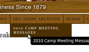 Screenshot of the new IHA Audio Archive Menu